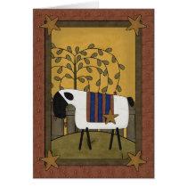 Pretty Sheep & Stars Country Scene - Blank Inside Card