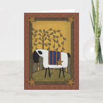 Pretty Sheep & Stars Country Scene - Blank Inside Holiday Card