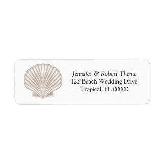 Pretty Shell Beach Wedding Invitation Mail Label
