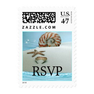 Pretty Shells & Beach Theme Wedding RSVP Stamp