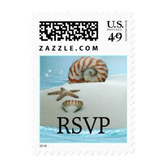 Pretty Shells & Beach Theme Wedding RSVP Stamp