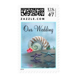 Pretty Shells & Beach Theme Wedding Stamp