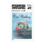 Pretty Shells & Beach Theme Wedding Stamp