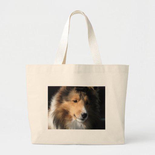 Pretty sheltie face tote bags