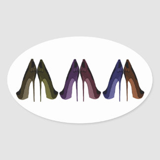 Pretty Shoes All In A Row Art Oval Sticker