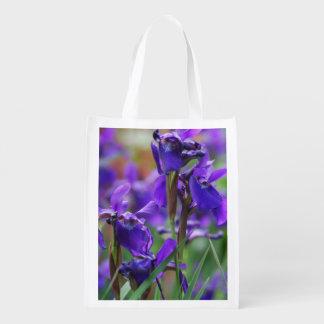 Pretty Siberian Iris Reusable Grocery Bags