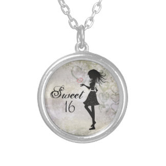 Pretty Silhouette Girl and Hearts Sweet 16 Silver Plated Necklace