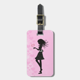 Pretty Silhouette Girl with Hearts Pink and Black Luggage Tag