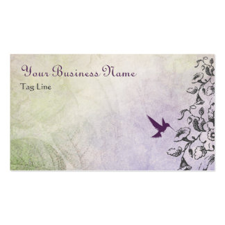 Pretty Silhouette Hummingbird and Flowers Business Card