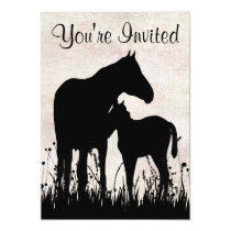 Pretty Silhouette Mare and Foal Horse Baby Shower Card