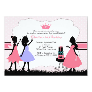 Pretty Silhouette  Pink Princess  Birthday Party 5x7 Paper Invitation Card