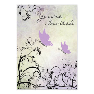 Pretty Silhouette Purple Butterfly Baby Shower Card
