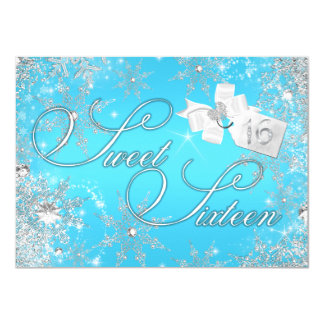 Pretty Silver Blue Snowflake Sweet 16 Invitation