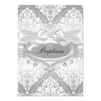 Pretty Silver Damask & Bow Baptism Invitation