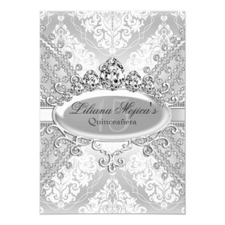 Pretty Silver Damask & Tiara Quinceanera Card