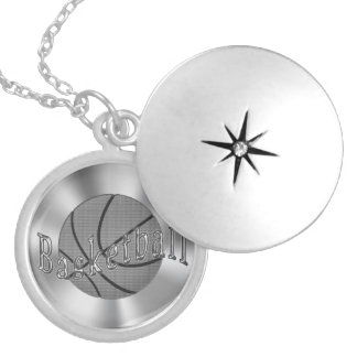 Pretty Silver Finished Basketball Locket for Girls