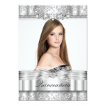 Pretty Silver Floral Photo Quinceanera Invitation