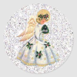 Pretty Silver Glittery Angel Christmas Sticker