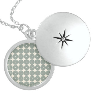 Pretty Silver Gray Circles Pattern Disks Buttons Necklaces