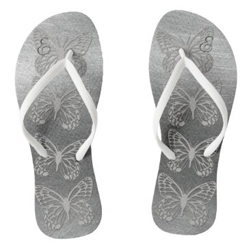 Beach Themed Pretty Silver Grey Butterflies Monogram Flip Flops