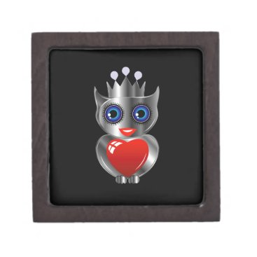 Halloween Themed Pretty silver owl with a red heart jewelry box