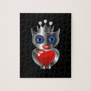 Halloween Themed Pretty silver owl with a red heart jigsaw puzzle