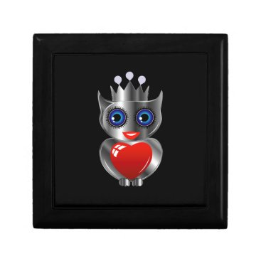 Halloween Themed Pretty silver owl with a red heart keepsake box