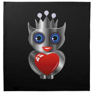 Halloween Themed Pretty silver owl with a red heart napkin