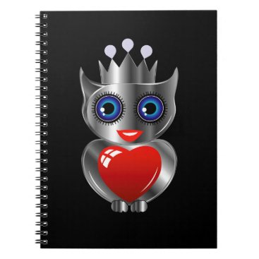 Halloween Themed Pretty silver owl with a red heart notebook