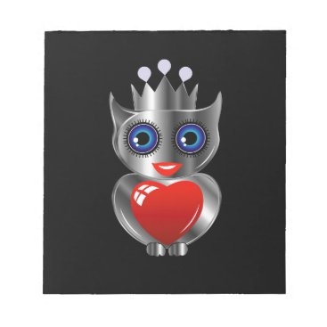 Halloween Themed Pretty silver owl with a red heart notepad