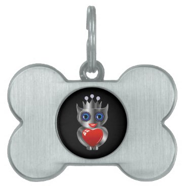 Halloween Themed Pretty silver owl with a red heart pet tag