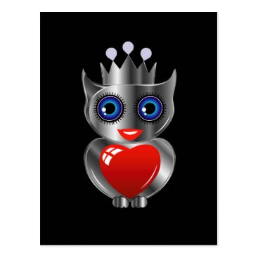 Halloween Themed Pretty silver owl with a red heart postcard