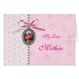 Pretty Silver Pendant with Pink Rose Mother's Day Card