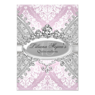 Pretty Silver Pink Damask & Tiara Quinceanera Card