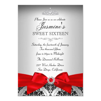 Pretty Silver & Red Damask Sweet 16 Invitation