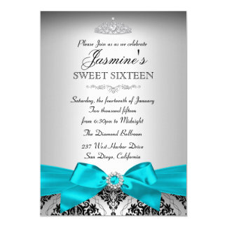 "Pretty Silver & Teal Damask Sweet 16 Invitation 5"" X 7"" Invitation Card"
