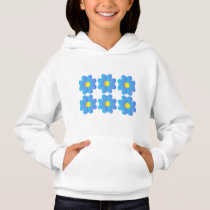 Pretty simple blue yellow flower graphics art hoodie