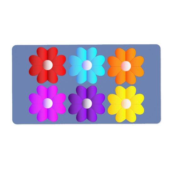 Pretty Simple Colors White Flowers Graphics Art 3d Label Zazzle