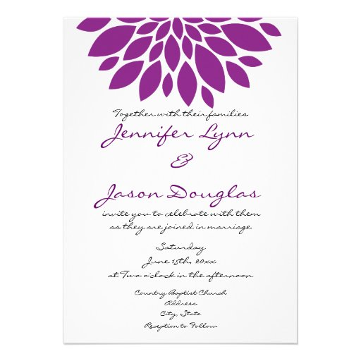 Pretty simple purple flower wedding invitations zazzle for Minimalist floral wedding invitations