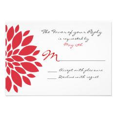 Pretty Simple Red Flower Art Wedding RSVP Cards
