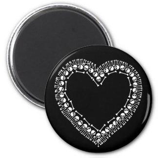 Pretty Skull Heart 2 Inch Round Magnet