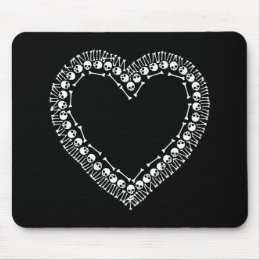Pretty Skull Heart Mouse Pad