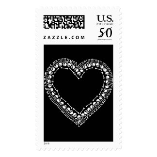 Pretty Skull Heart Postage