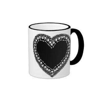 Pretty Skull Heart Ringer Coffee Mug