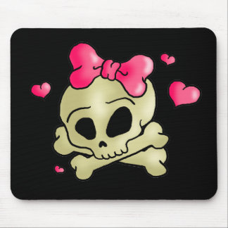 Pretty skull mouse pad