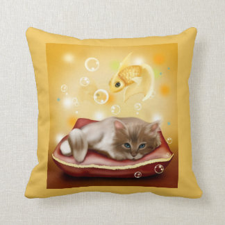 Pretty sleepy cat dreaming of goldfish pillow