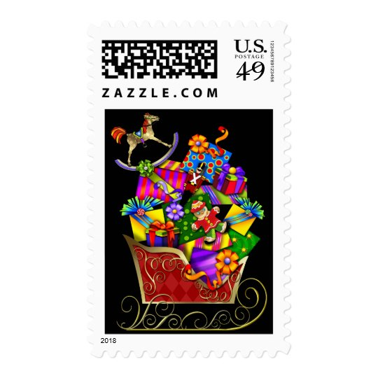 Pretty Sleigh Christmas postage