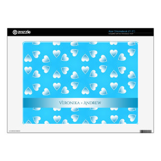 Pretty small blue hearts. Add your own text. Acer Chromebook Skins