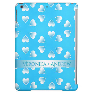 Pretty small blue hearts. Add your own text. iPad Air Covers