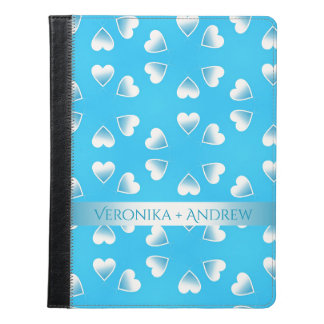 Pretty small blue hearts. Add your own text. iPad Case